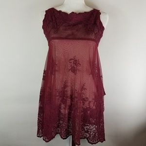 Chelsea & violet boho maroon lace tunic size xs